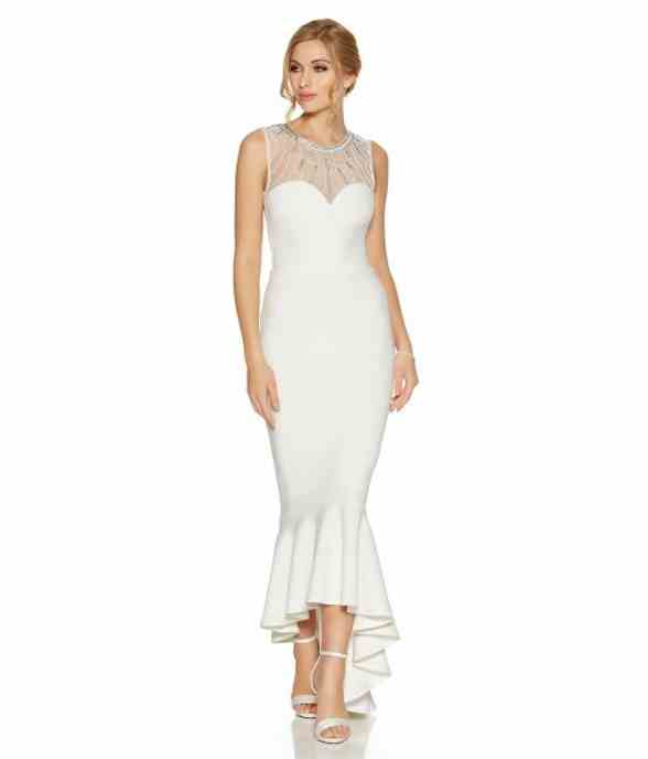 Pippa white fishtail dip hem bridal dress le sapphire for White fishtail wedding dress